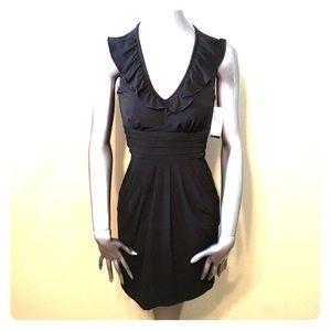 NWT BCX Macy black ruffle neck empire waist dress